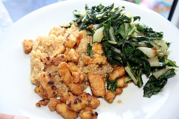 Pan-Fried Tempt-eh! Simple Swiss Chard Teriyaki Quinoa